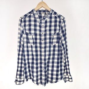 Anthro Holding Horses Button Front Plaid Shirt 14